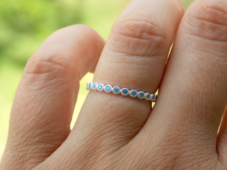 Blue diamonds ring CZ engagement ring Pave ring Black stone eternity ring micro pave SALE