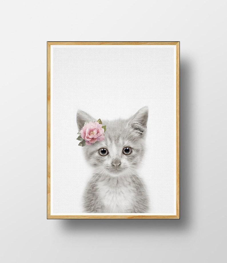 photo relating to Kitten Printable named Kitten Print, Nursery Printable, Nursery Animal Print, Animal Print, Kitten Wall Artwork, Watercolour Flower, Lovable Kitten, Infants Space, Kitten