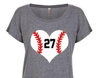 Baseball heart shirt, Custom baseball heart shirt, Baseball mom shirt , Softball mom shirt, Softball heart shirt, Custom softball shirt