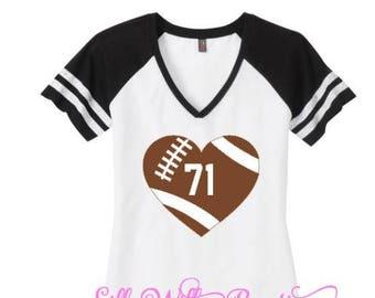 Football mom shirt, Football Heart, Custom Football shirt, Football Heart shirt, Football mom top, Sports mom shirt,mom spirit shirt