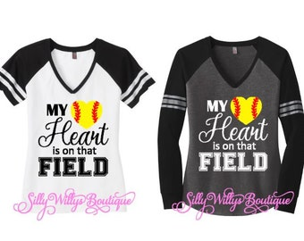 My heart is on that field shirt, Softball mom shirt, Softball mom top, Softball Heart shirt, Softball shirt, Sports mom, Softball heart
