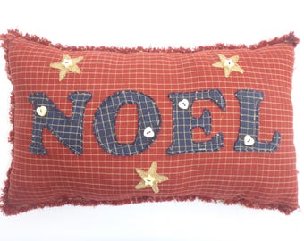 Rustic homespun Christmas cushion/pillow, with applique 'Noel' and stars. Finished with pretty wooden buttons