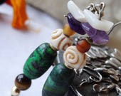 Nepal earrings turquoise Amethyst bone - holidays gift idea