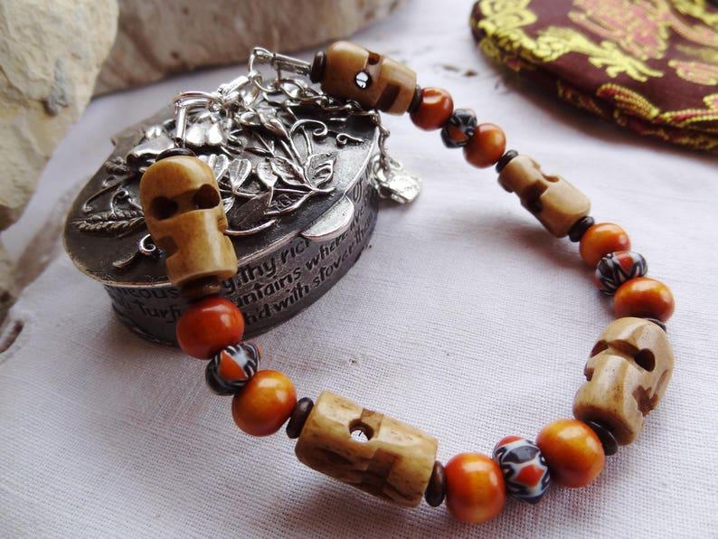 ceramic and wood Beads Bracelet sandalwood Nepalese bone Ideal Gift woman or teenager