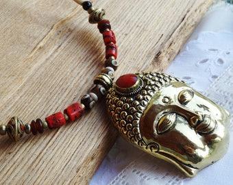 Choker Nepalese brass Buddha - holidays gift idea