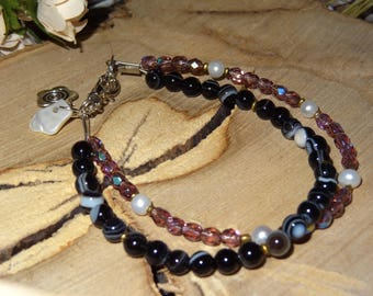 Bracelet agate and faceted beads - holidays gift idea