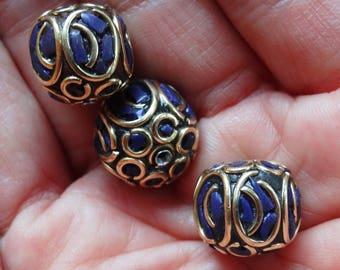 Pearl Nepalese lapis lazuli brass