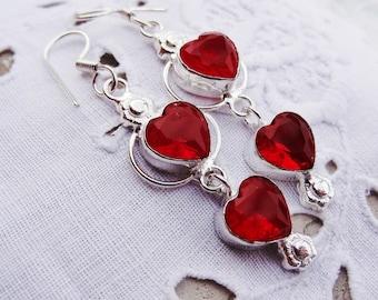 Garnet Earrings - 925 Sterling Silver - gift idea mothers day
