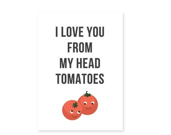 "Punny Valentine's Day Postcard with Envelope ""I Love You from My Head Tomatoes"" Funny Silly Minimalist Anniversary Galentine's Greeting Card"