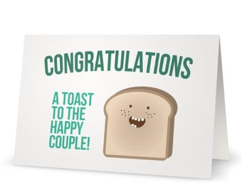 Punny Congratulations Wedding Anniversary Engagement Card | Silly Fun Cartoon Greeting Card Congrats Funny Toast Pun Folded Card w/ Envelope