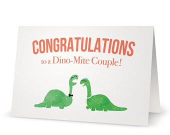 Dino-Mite Congratulations Wedding Card | Silly Punny Fun Greeting Card Congrats Funny Dinosaur Pun Cartoon Engagement Folded Card + Envelope