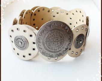 Beige Moroccan Style Hips Belt White Vegan Leather Gypsy Belt  Boho Belt Hippie Tribal,Buckle Belt Faux Leather