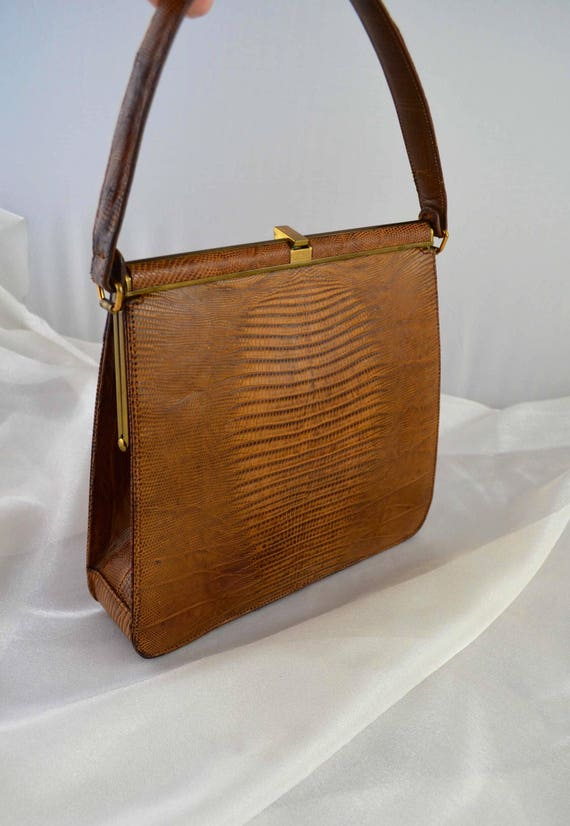 Vintage Palizzio Kelly Style Lizard Skin Handbag … - image 2