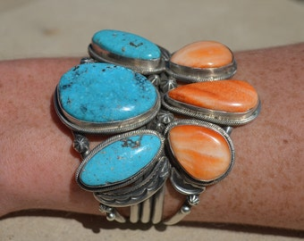 10% OFF SALE! Vintage Navajo Sterling Silver, Turquoise and Spiny Oyster Cuff Bracelet signed by artist, Jason Livingston