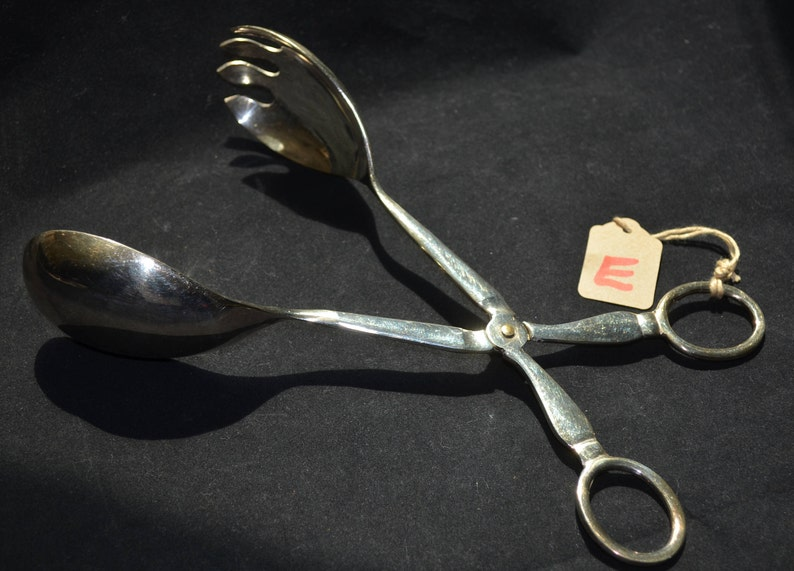 Made in Japan Large Vintage Silverplate Tong Set