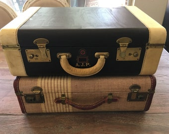 Vintage Kessler Chocolate and Beige Monogrammed Luggage/Train Case