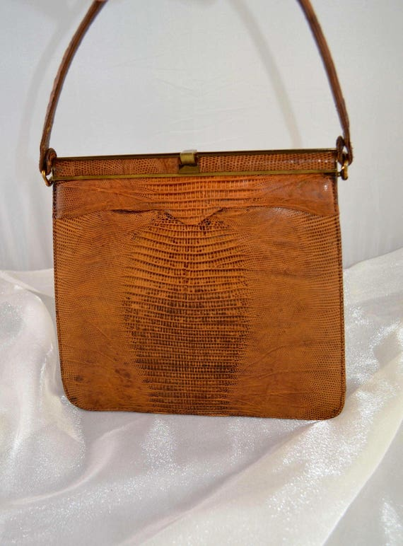 Vintage Palizzio Kelly Style Lizard Skin Handbag … - image 1