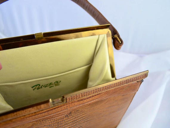Vintage Palizzio Kelly Style Lizard Skin Handbag … - image 5