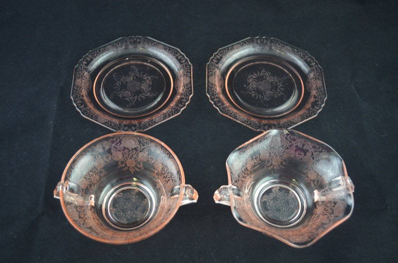 Florentine Number 2 Set of Two Pink Depression Glass Nut or Candy Bowls and Saucers by Hazel-Atlas Glass Company