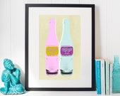 NuGrape Bottle - Pop Art Print, Pop Art Poster, Vintage Poster, Warhol Style Print, Warhol Poster, pop art, kitchen art, wall art, bathroom