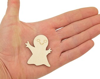 Wooden Ghost (5cm) Shape Art Projects Craft Halloween Decoration Gift Decoupage Ornament MG000458