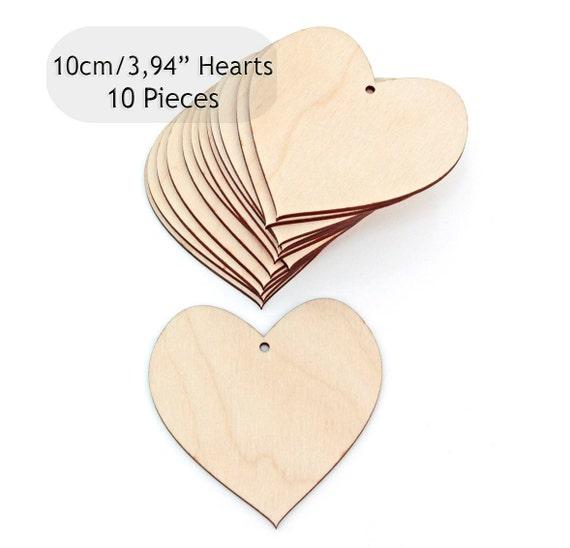 Laser Cut Pack of 10 Wooden Hearts Craft Shapes 10cm x 10cm 3mm MDF Wedding