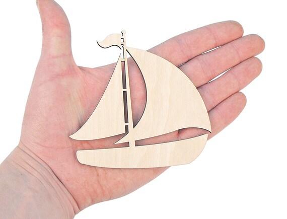 Shape Sailboat Art Projects Craft Decoration Gift Decoupage Sea Decor MG000568 10cm Wooden Pirate Ship