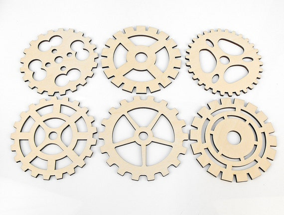 10 Elements Craft Decoupage Scrapbooking Gears Cut-out Plywood Shapes