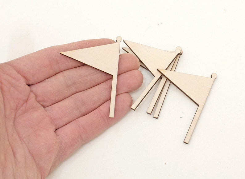 Shapes Wood Triangle Flag Ornaments DIY Craft Unpainted 6cm 5x Wooden Flag Cutouts