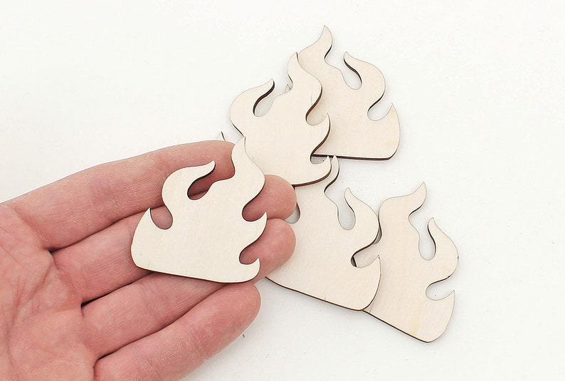 5cm Shapes Blanks Ornaments Craft Decoration Gift Decoupage Unpainted MG001101 5x Wooden Flame Fire Cutouts