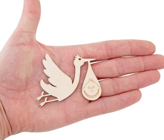 10x ENGRAVED WOODEN BABY /& STORK SHAPES gift tag craft card embellishment wood