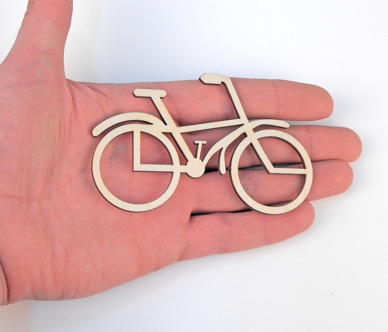 Wooden Bicycle 10x6,5cm Shape Ornaments Craft Hanging Tag Decoration Gift Decoupage Laser Cut MG000049