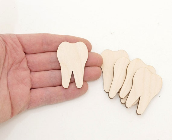 1 10x Wooden Teeth Shapes Wood Tooth Craft Embellishments Decoration Gift Decoupage Card Making MG000795