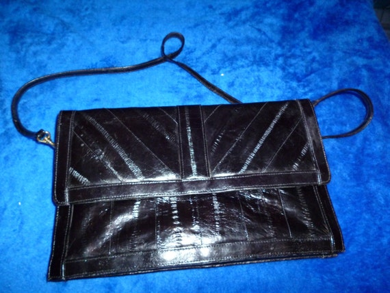 Black eel skin clutch - image 1