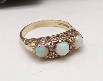 Victorian Style 9 Carat Gold Fiery Opal and Diamond 3 Stone Trilogy Ring size P US 7.5