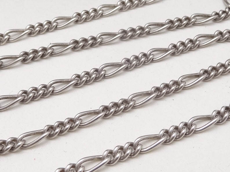 Vintage Italian Silver Figaro Link Chain Necklace 3 mm 18.25 Unisex