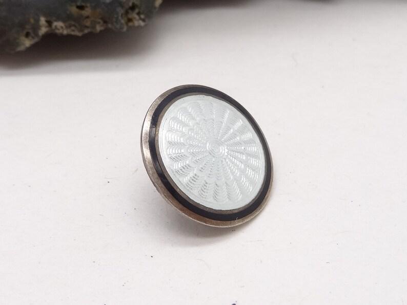 Antique Silver Monochrome Guilloche Enamelled Button Perfect condition