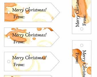 Printable Tea Stained Gift Tags - Christmas