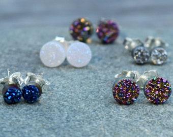 Round Druzy Stud Earrings, White Druzy Earrings, Tiny Druzy Studs, Small Geometric Round Circle Druzy, Rainbow Titanium, Silver, Blue Druzy