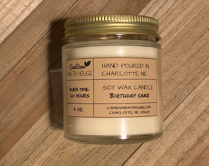 Birthday Cake Hand Poured Soy Wax Candle