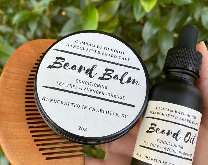 Beard kit for men with beard balm, beard oil, and beard comb