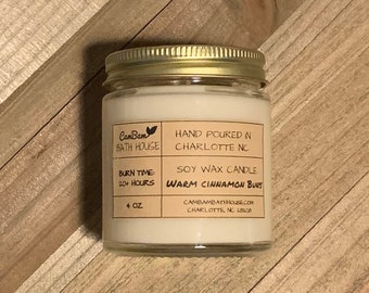 Warm Cinnamon Buns Hand Poured Soy Wax Candle