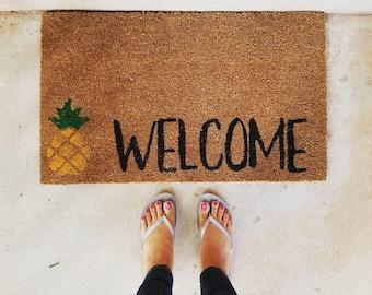 Pineapple Welcome Doormat | Welcome Mat | Door Mat | Outdoor Rug |  Home Decor | Beach House Decor |  Urban Owl