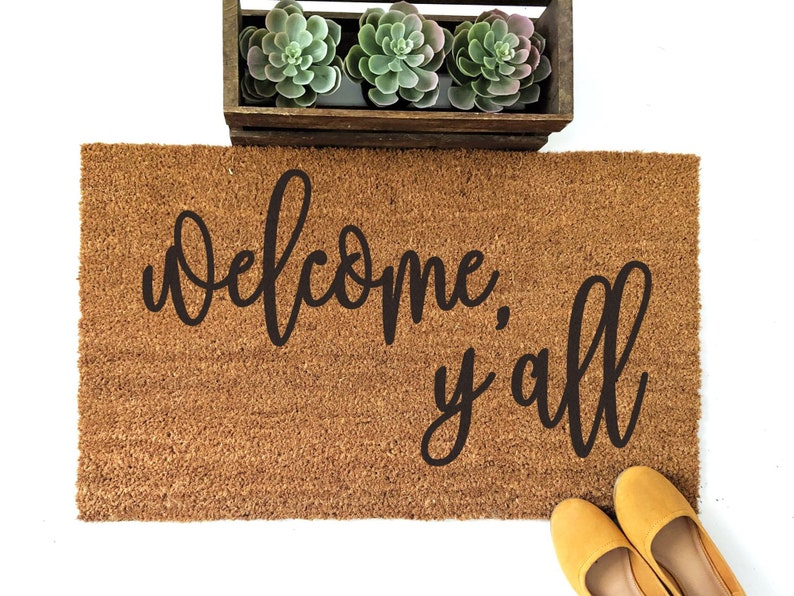 Welcome Y'all Doormat  Welcome Door Mat  Sassy Doormat  image 0