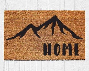 Home Doormat with Mountains | Welcome Mat | Door Mat | Outdoor Rug | Housewarming Gift | Colorado | Cabin Decor