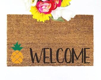 Pineapple Doormat | Welcome Mat | Pineapple Decor | Housewarming Gift | Summer Decor | Cute Doormat | Custom Doormat |