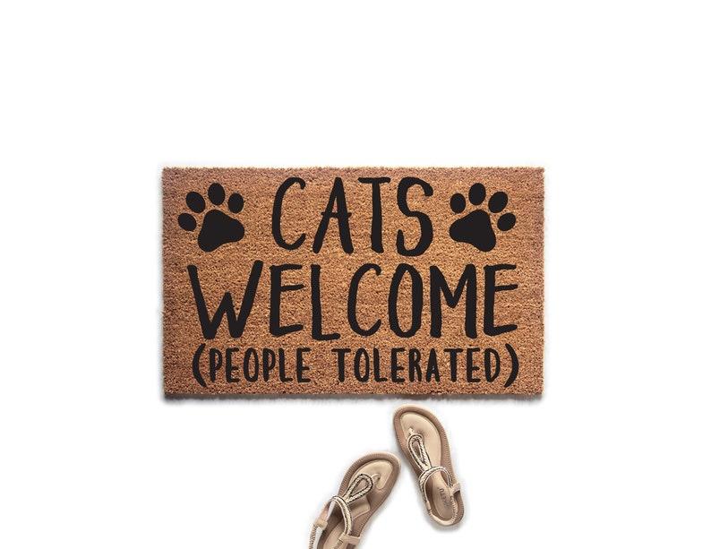 Cats Welcome People Tolerated Doormat  Welcome Mat  Door image 0