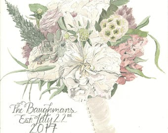 Bridal Bouquet Painting - Watercolor