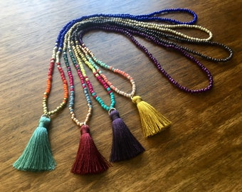 Tassel bead necklace, tribal bead necklace, native american beaded necklace, boho beaded necklace, southwest bead necklace, festival beads
