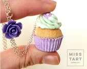 Miniature Purple Cupcake Necklace with purple Flower, Kawaii, Miniature Sweet Jewelry, Polymer Clay